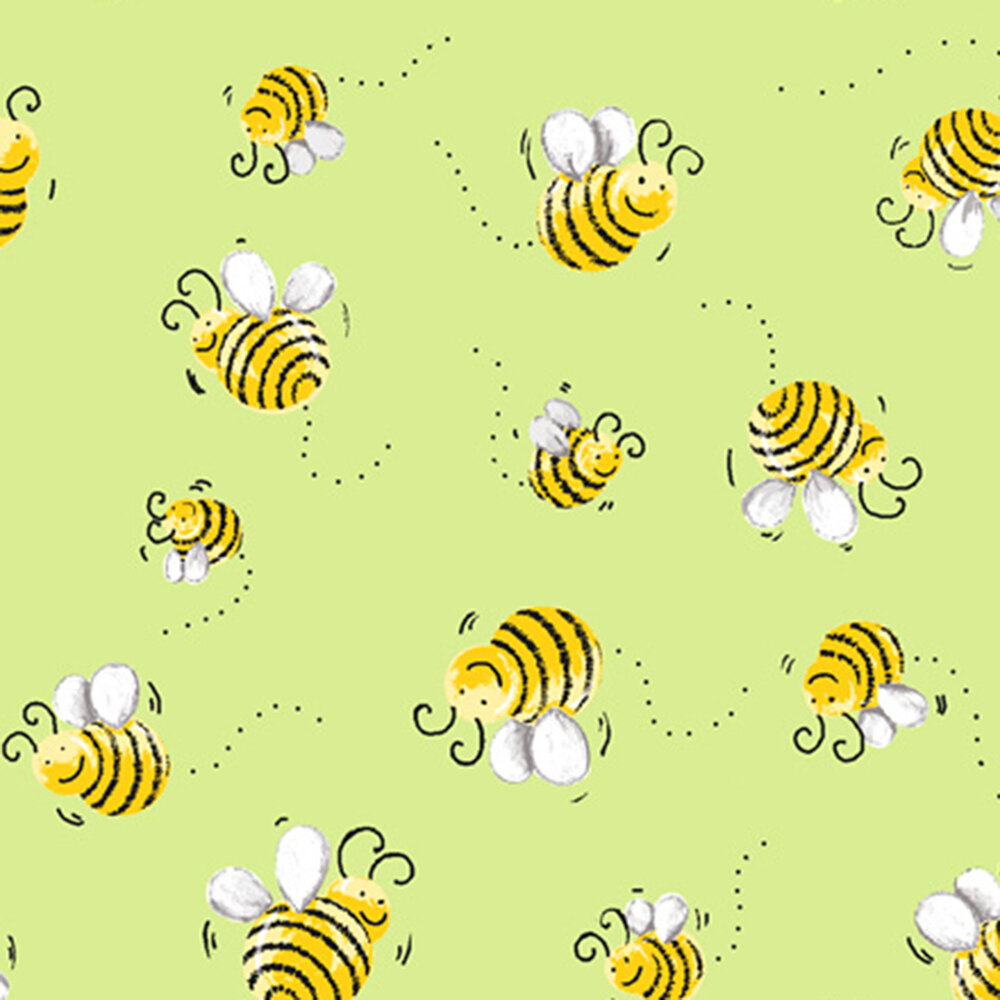 Tossed bees on a green background | Shabby Fabrics