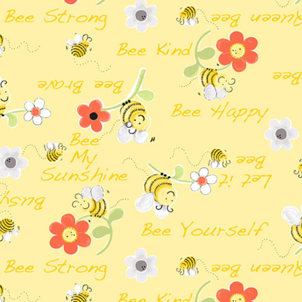 Words and little bees landing on flowers on yellow | Shabby Fabrics