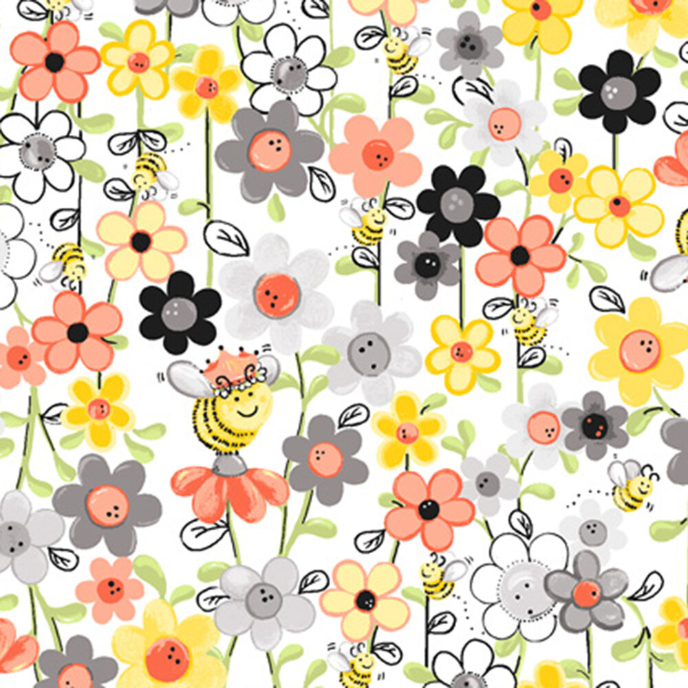 Red, yellow, and grey flowers and bees | Shabby Fabrics