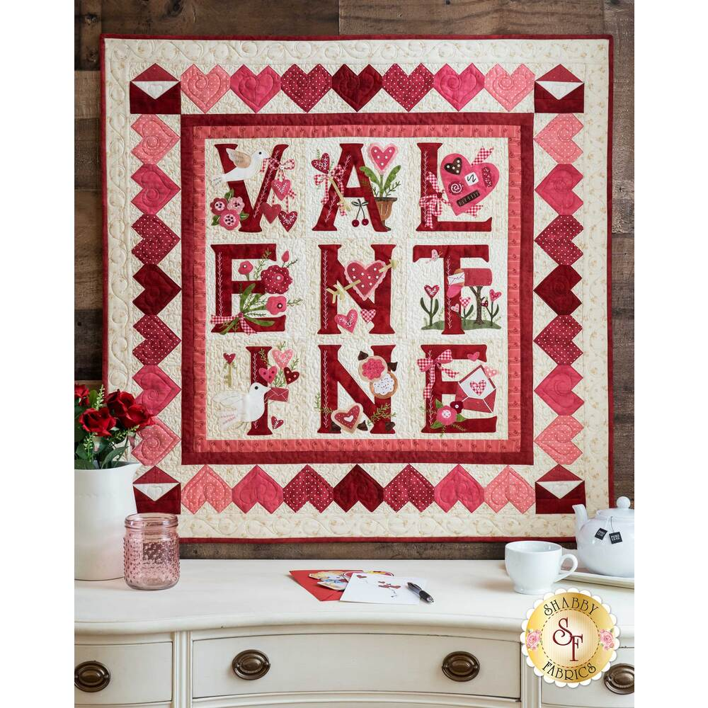 The finished Sweet Valentine Quilt on display
