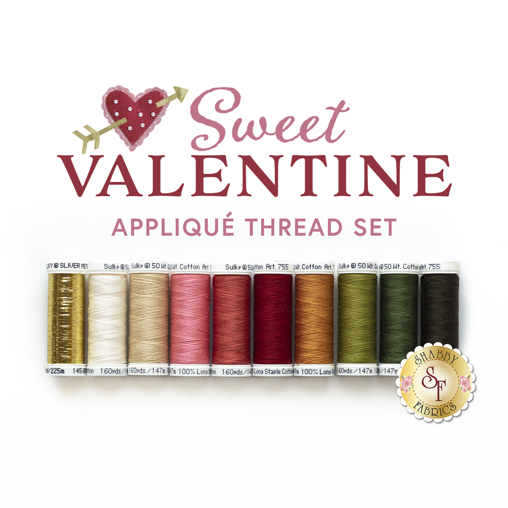 The coordinated 10pc Thread Set for the Sweet Valentine BOM | Shabby Fabrics