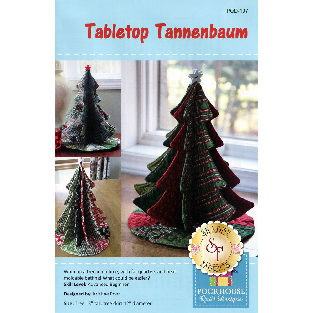 The front of the Tabletop Tannenbaum pattern showing the completed tree.