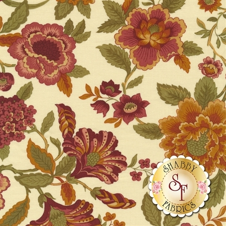 Beautiful flowers with green leaves on a cream background | Shabby Fabrics
