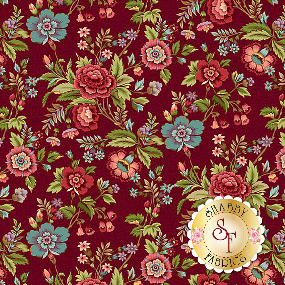 Vintage blue and red flowers on red | Shabby Fabrics
