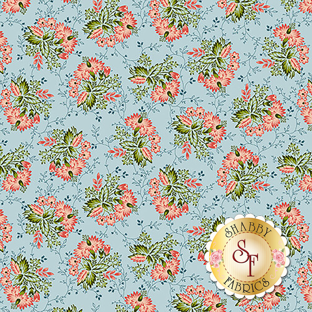 Tossed pink bouquets on blue | Shabby Fabrics