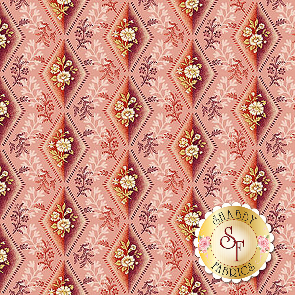 Red diamonds with white florals on pink | Shabby Fabrics