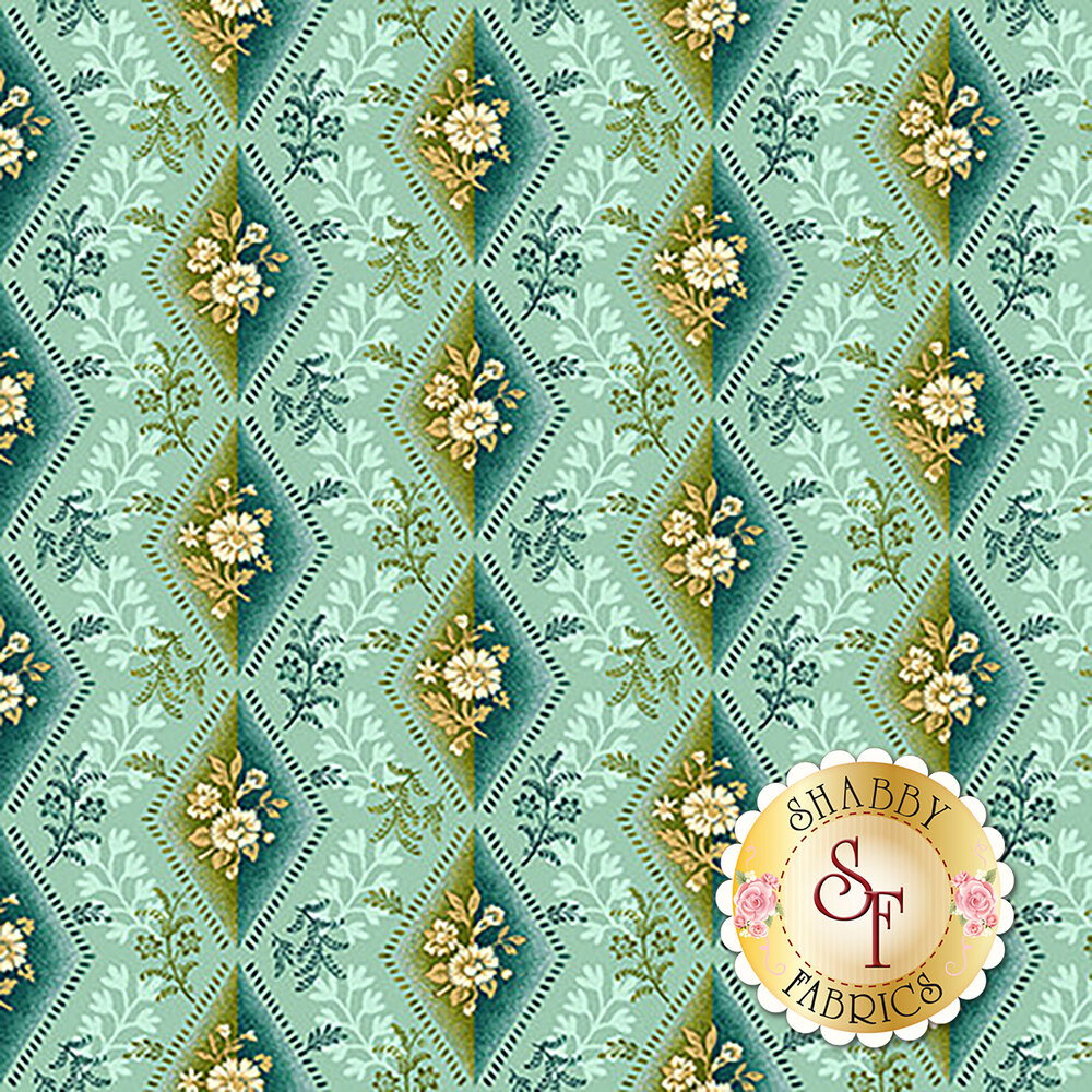 Green diamonds with white florals on mint | Shabby Fabrics
