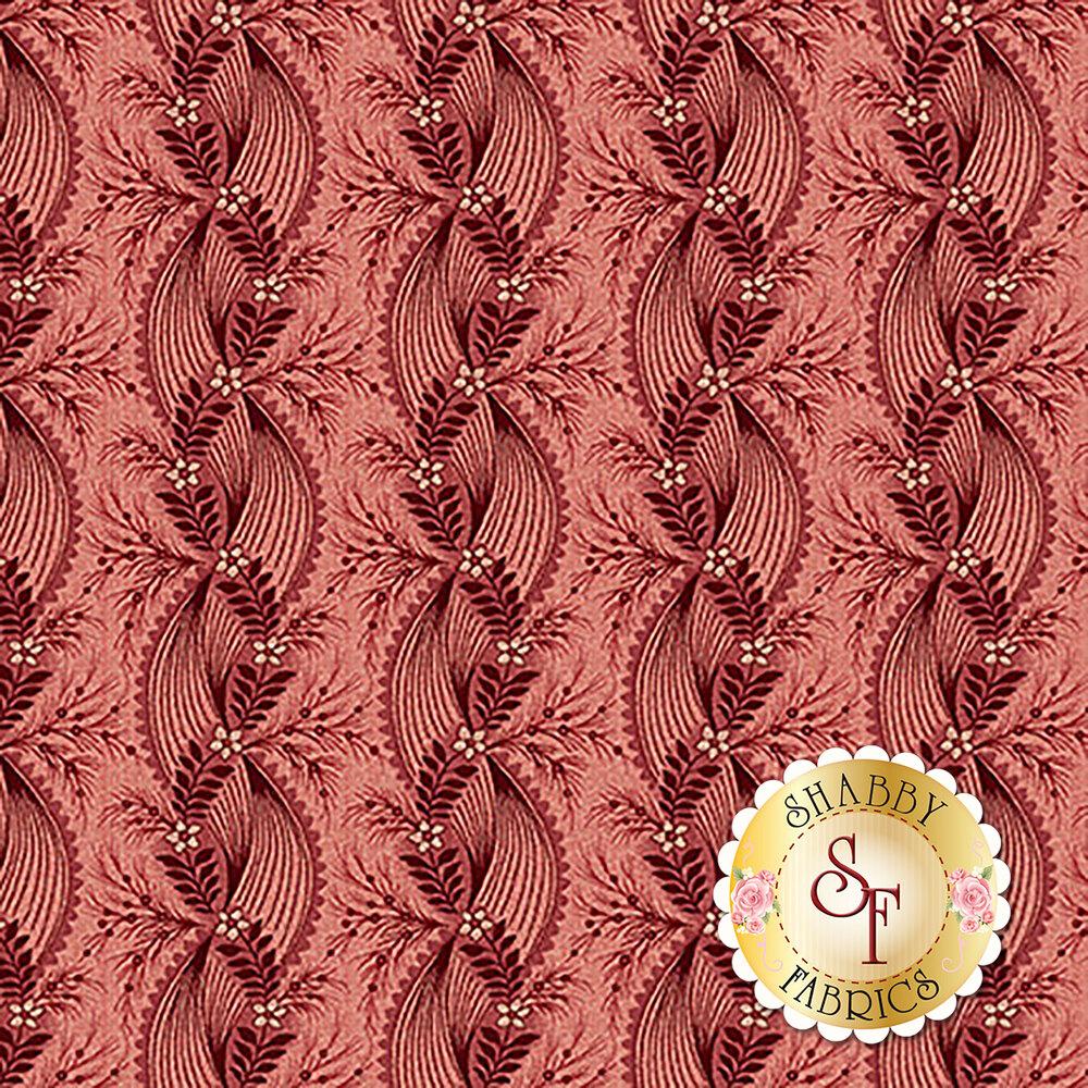 Tonal red floral stripe | Shabby Fabrics