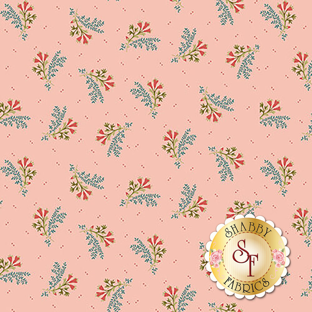 Tossed floral bouquet on pink   Shabby Fabrics