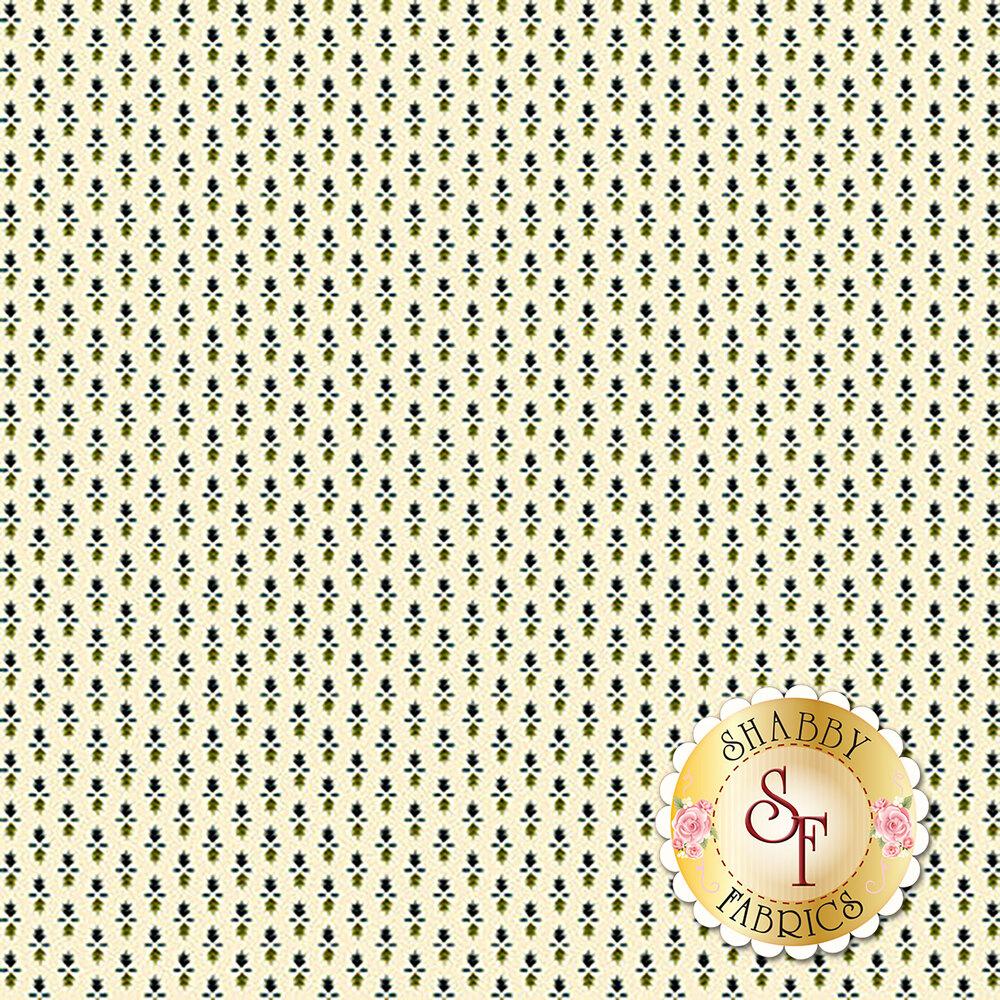 Green and teal print on cream | Shabby Fabrics