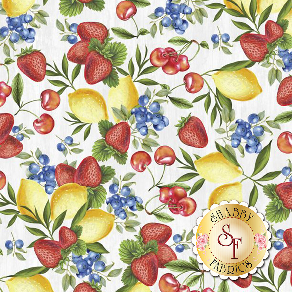 Tossed lemons, strawberry, cherries, and blueberries on white | Shabby Fabrics