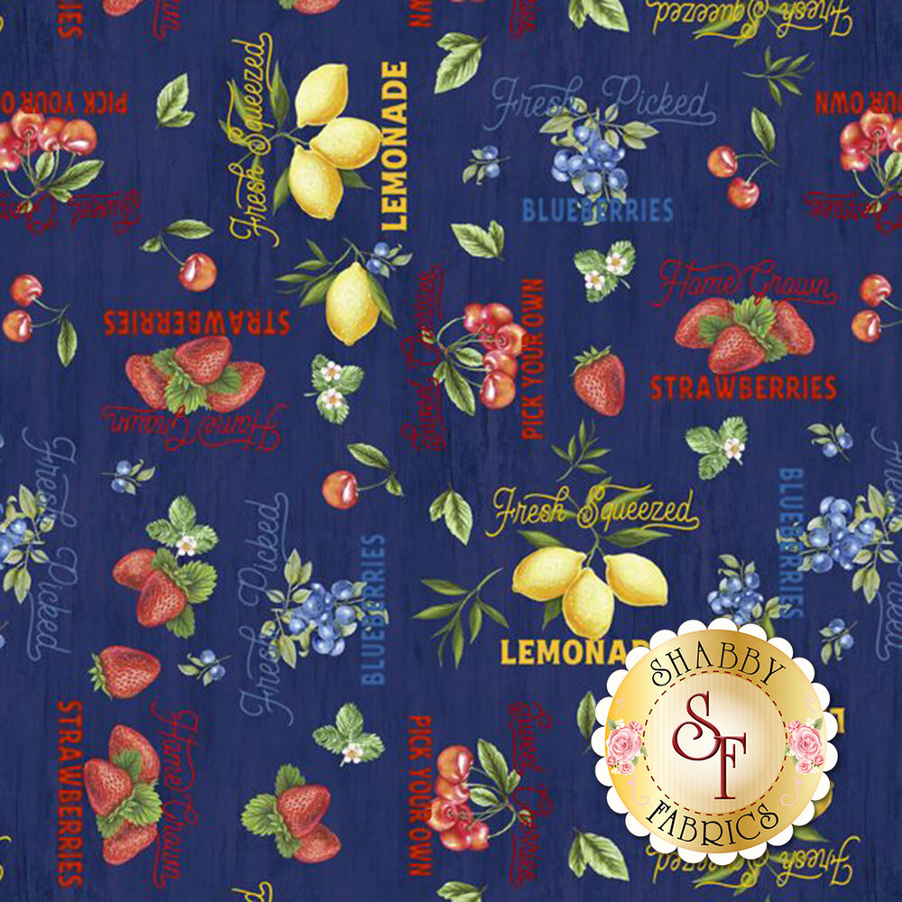 Words and fruits all over navy | Shabby Fabrics