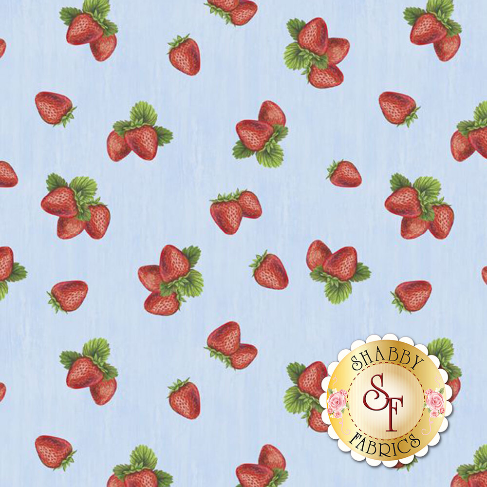 Tossed strawberries on a light blue textured fabric | Shabby Fabrics