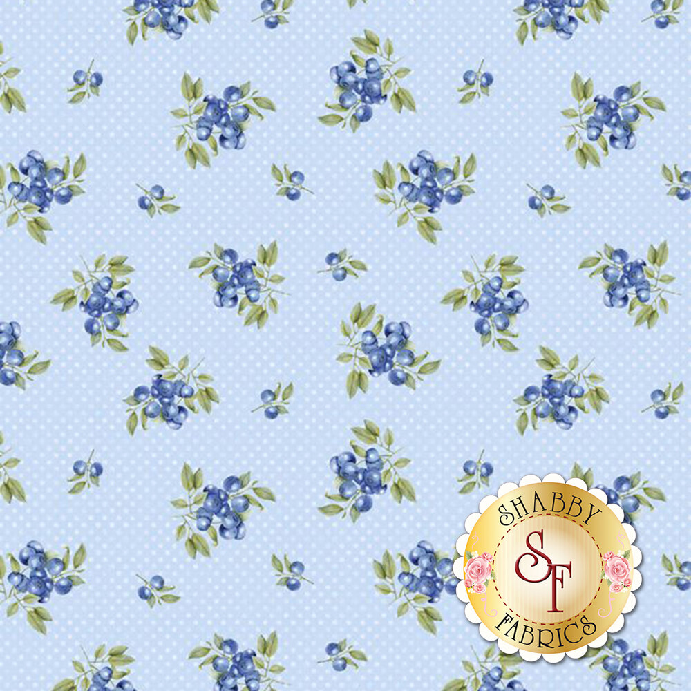 Tossed blueberries on light blue tonal dots | Shabby Fabrics