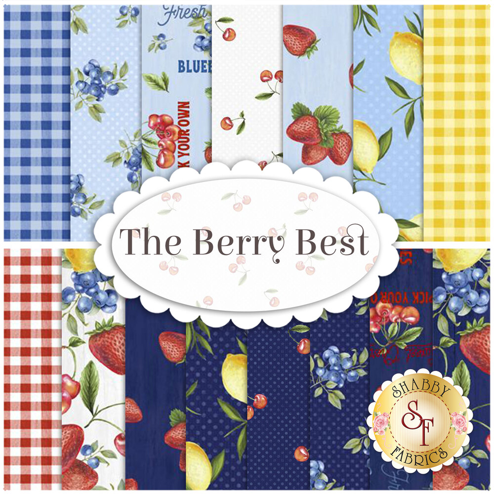 A collage of fabrics featured in The Berry Best collection | Shabby Fabrics