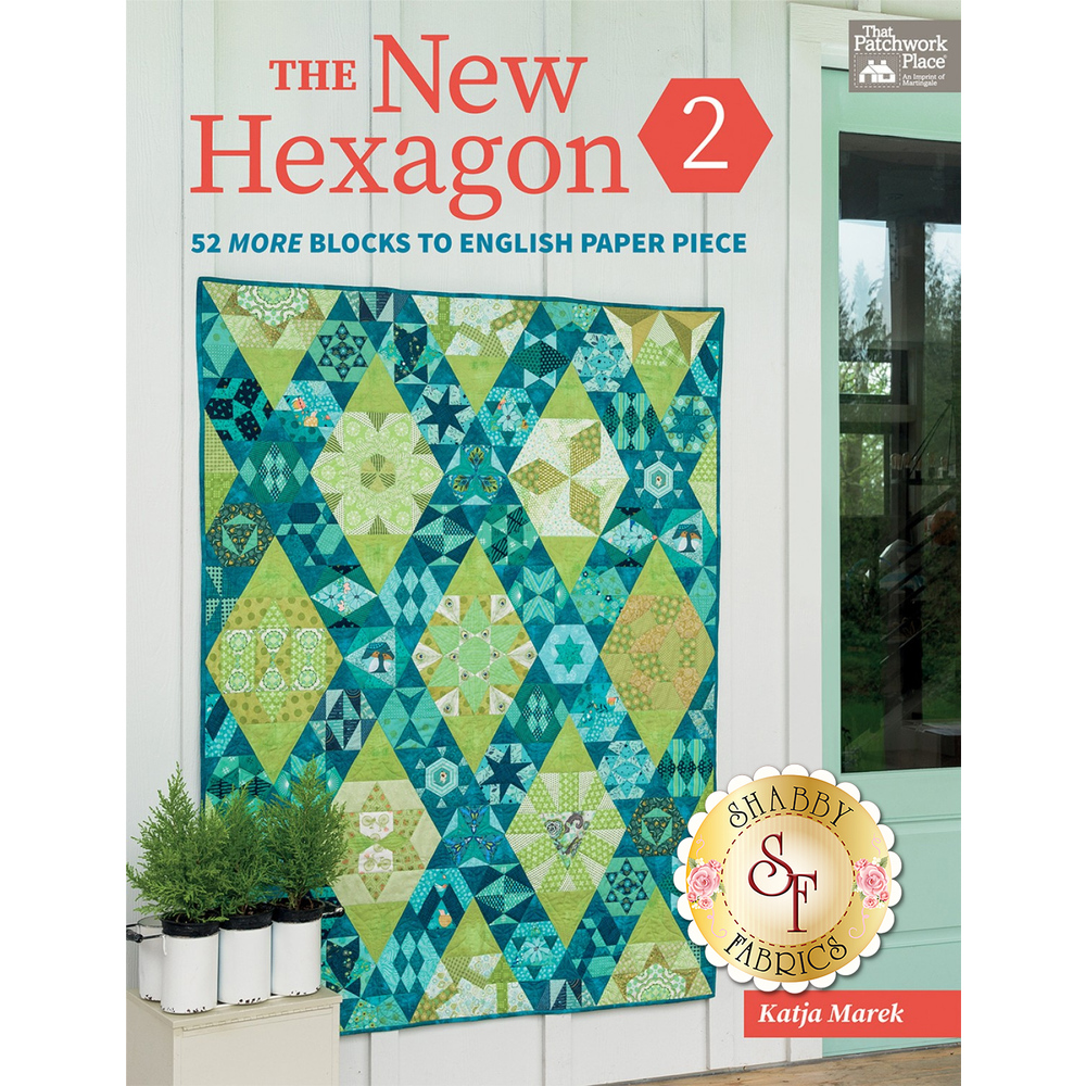 The front of The New Hexagon 2 book showing a pieced quilt | Shabby Fabrics