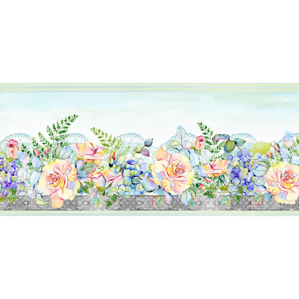 Watercolor floral on white | Shabby Fabrics