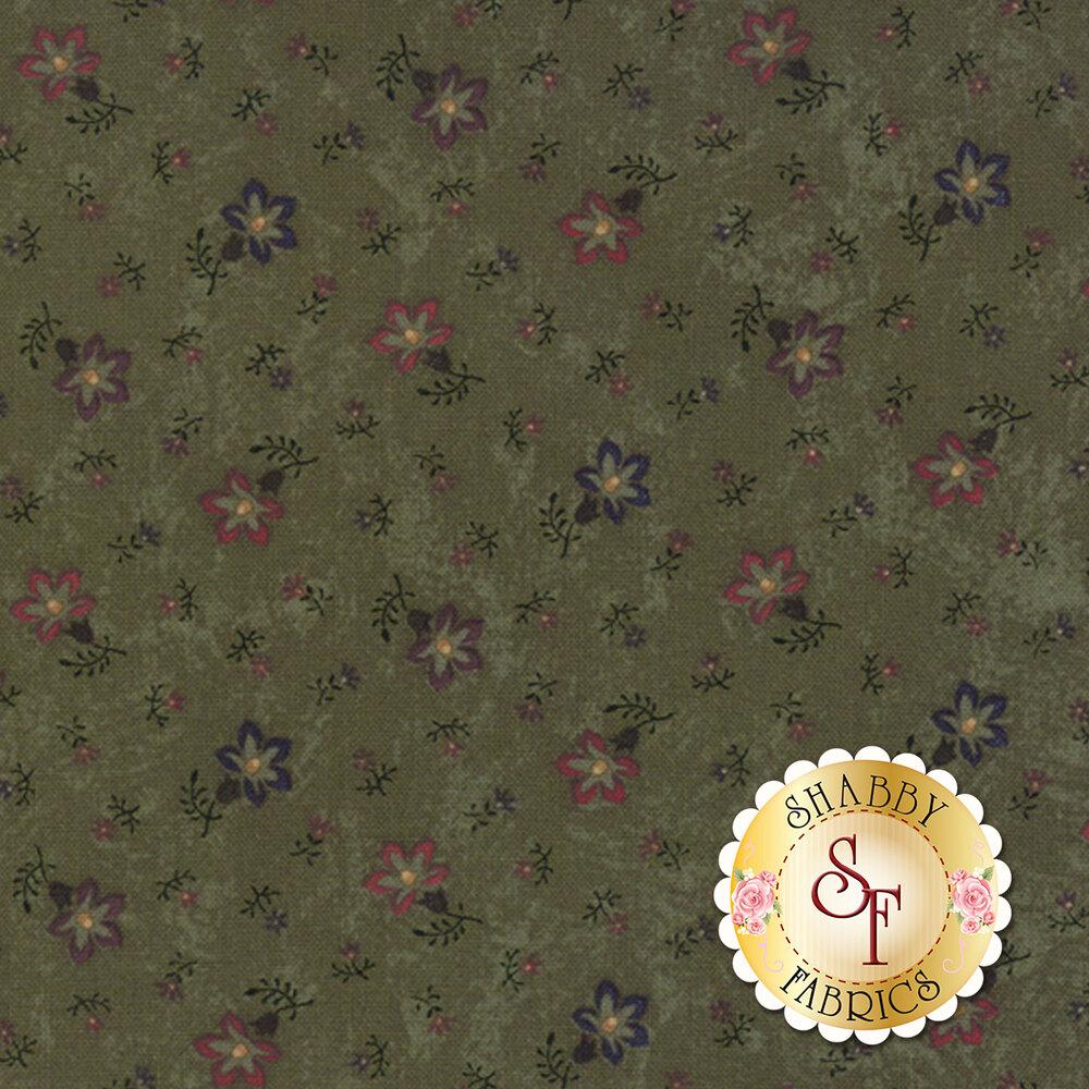 Tossed flowers on a mottled green background | Shabby Fabrics