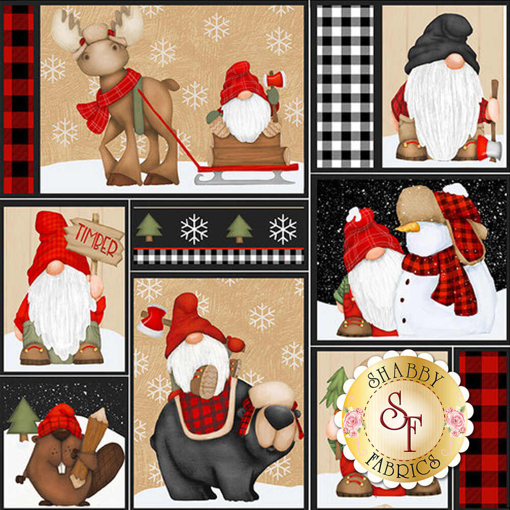 Patchwork squares of gnomes, moose, and beavers | Shabby Fabrics