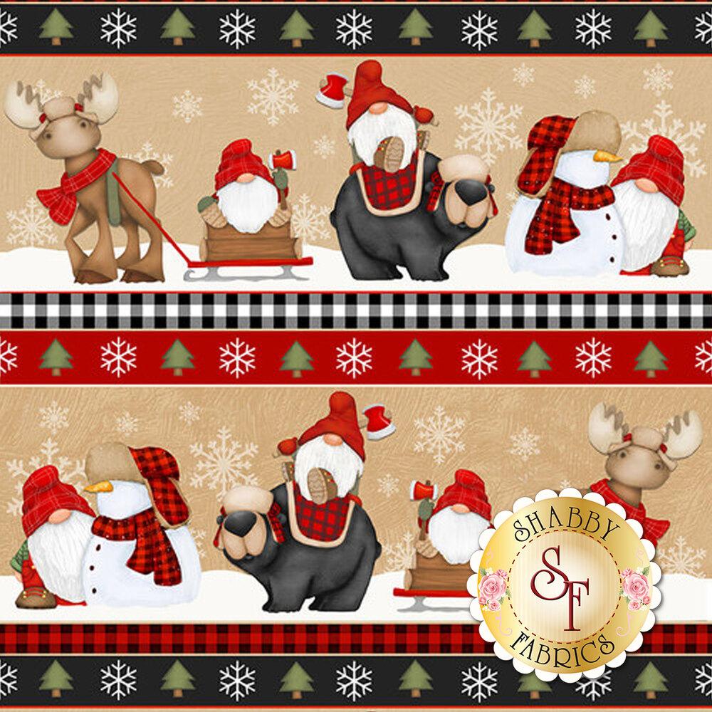Border stripe with gnomes, bears, and snowflakes | Shabby Fabrics