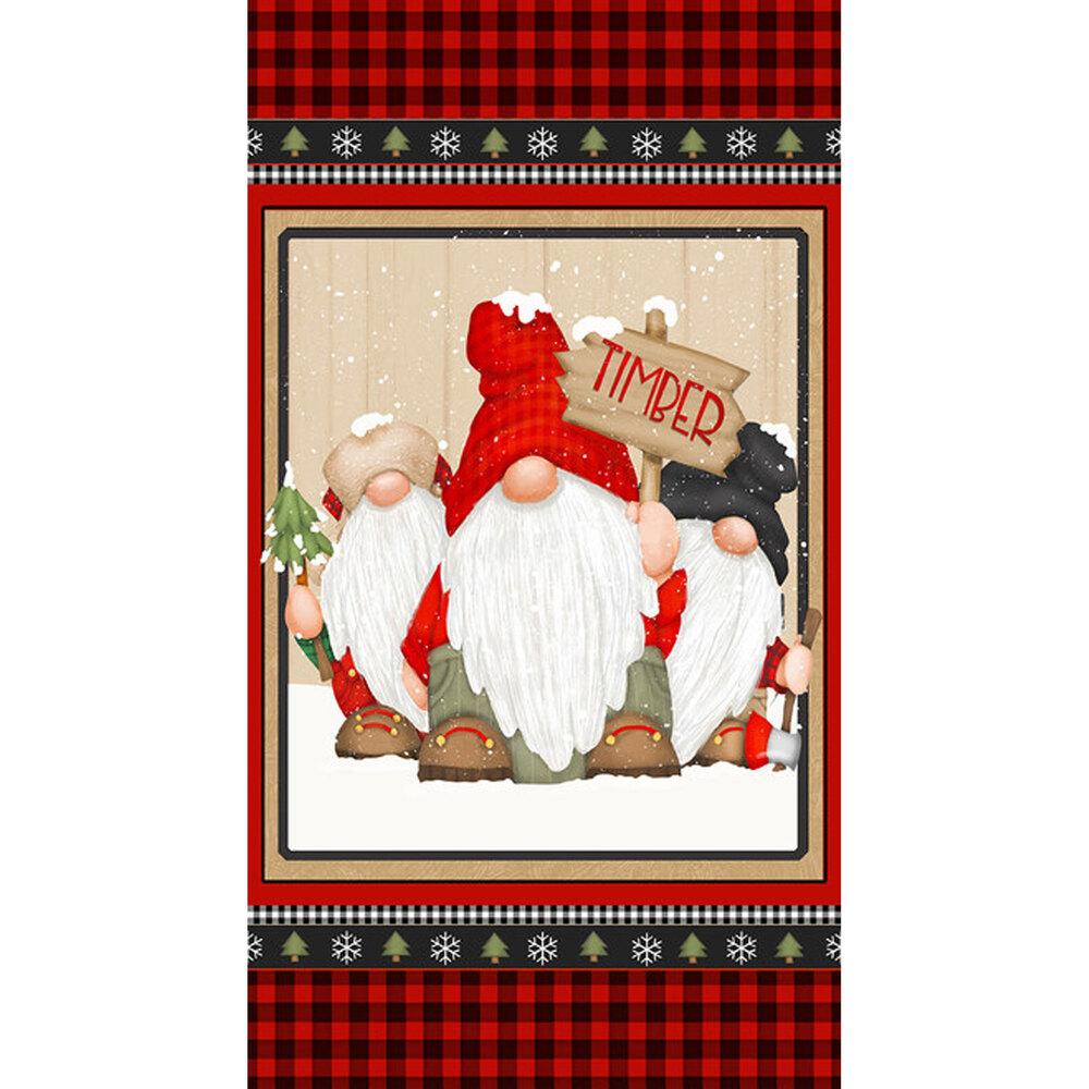 Panel featuring gnomes, and plaid borders with trees and snowflakes   Shabby Fabrics