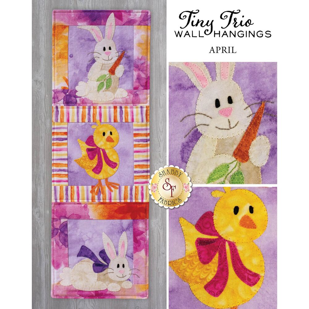 Tiny Trio Wall Hanging - Hoppy Easter -  April  - Pattern Download available at Shabby Fabrics