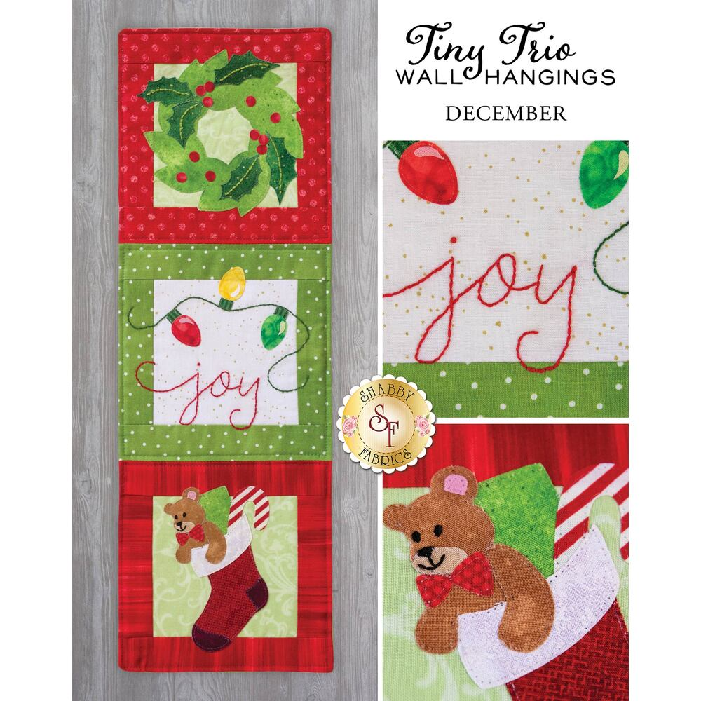 Tiny Trio Wall Hangings - Joy - December - Laser Cut Kit
