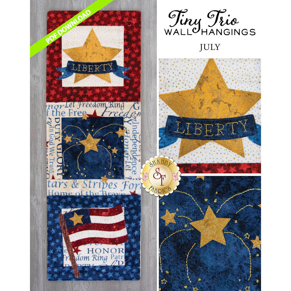 Tiny Trio Wall Hanging - Red, White And Blue -  July - PDF Download available at Shabby Fabrics
