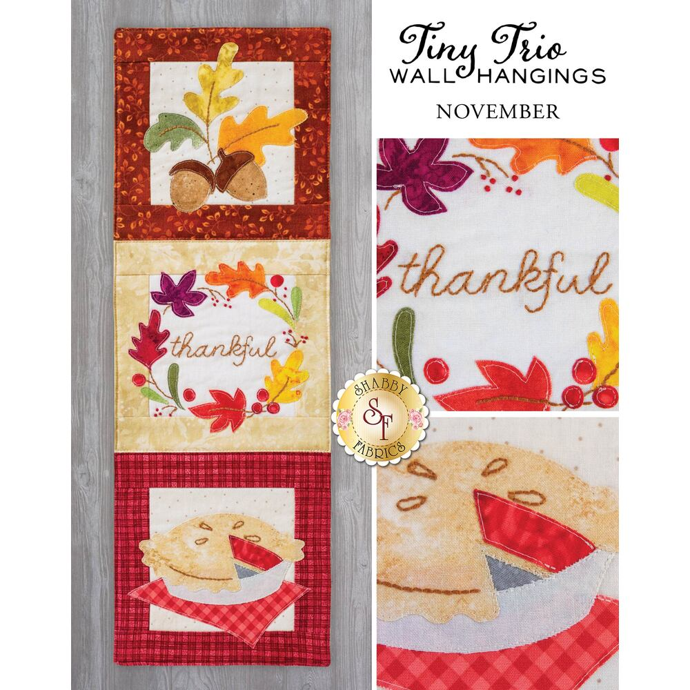 Tiny Trio Wall Hangings - Thankful - November - Laser Cut Kit