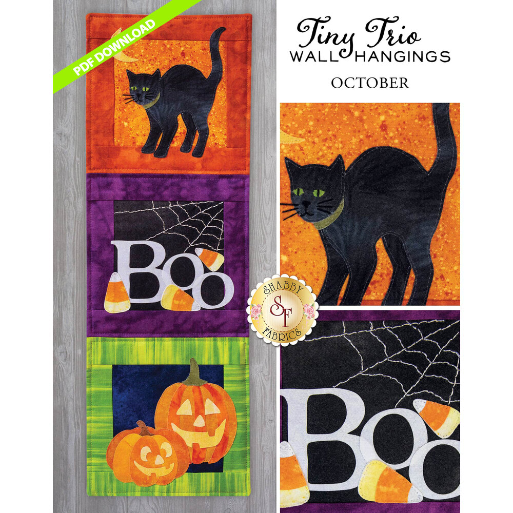 Tiny Trio Wall Hanging - Boo -  October- PDF Download available at Shabby Fabrics