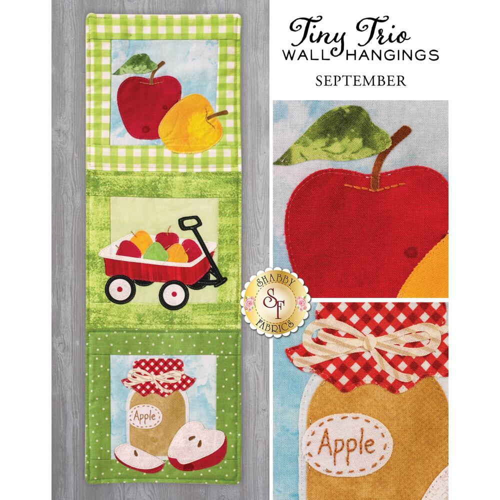 Tiny Trio Wall Hangings - Autumn Apples - September - Laser Cut Kit