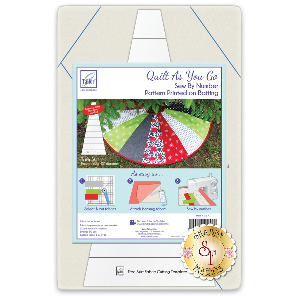 The packaging of the Quilt As You Go Tree Skirt batting by June Tailor | Shabby Fabrics