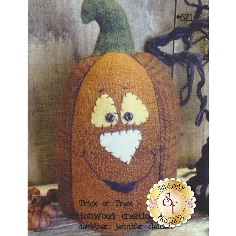 The front of the Trick or Treat Pattern showing the finished pumpkin | Shabby Fabrics