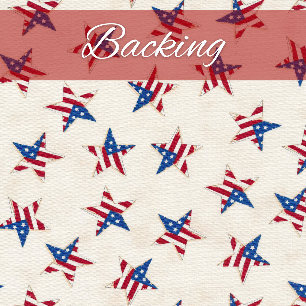 Cream fabric with red, white, and blue stars all over