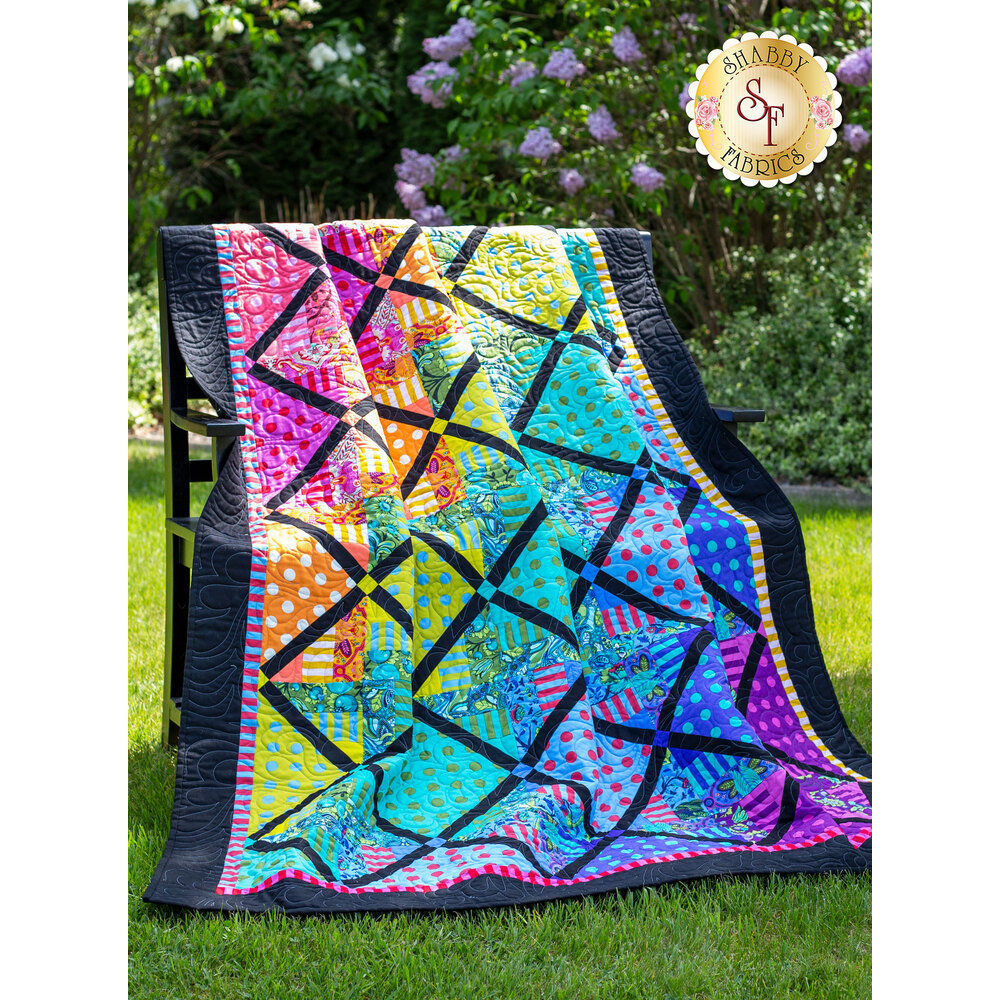 Tula Pink Spinning Rail Fence Quilt Pattern by Shabby Fabrics