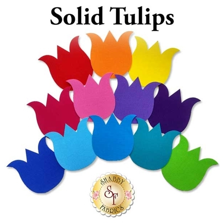12 tulip applique shapes in a rainbow of brightly colored solid fabrics.