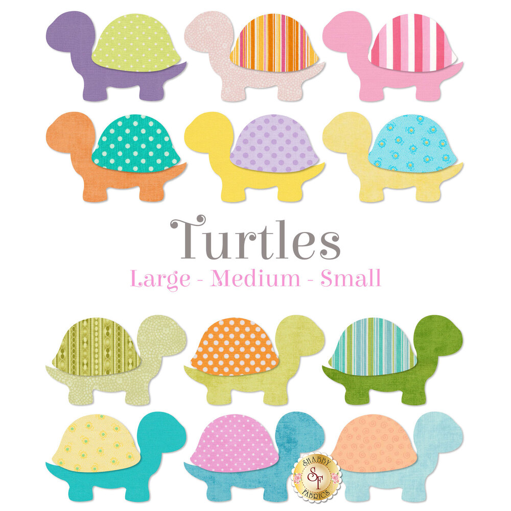12 turtle applique shapes in a variety of pastel colors.