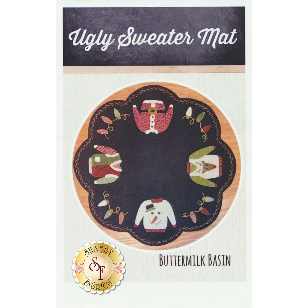 The front of the Ugly Sweater Mat pattern showing a finished circle mat | Shabby Fabrics