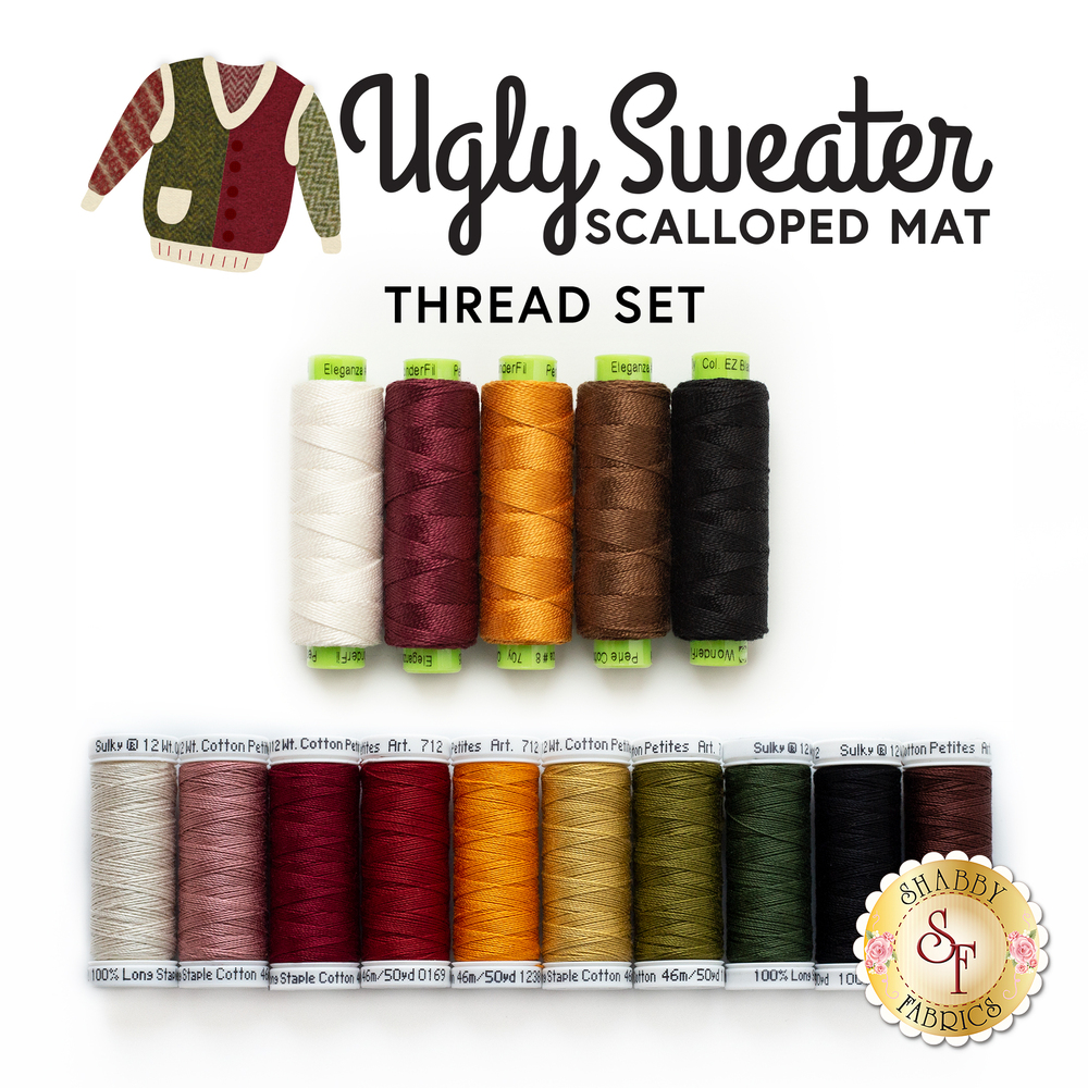 The coordinating 15 piece thread set for the Ugly Sweater Scalloped Mat Kit | Shabby Fabrics