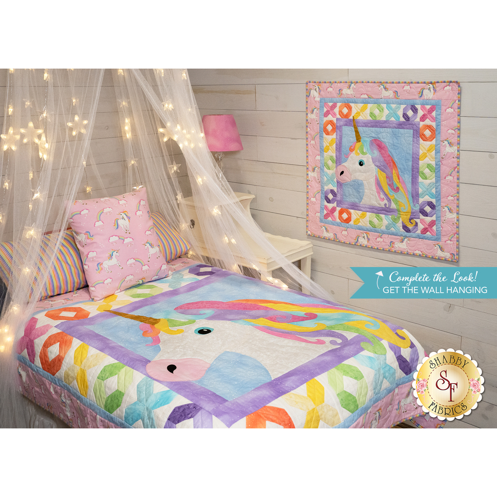 Unicorn Kisses Quilt Kit - RESERVE available at Shabby Fabrics