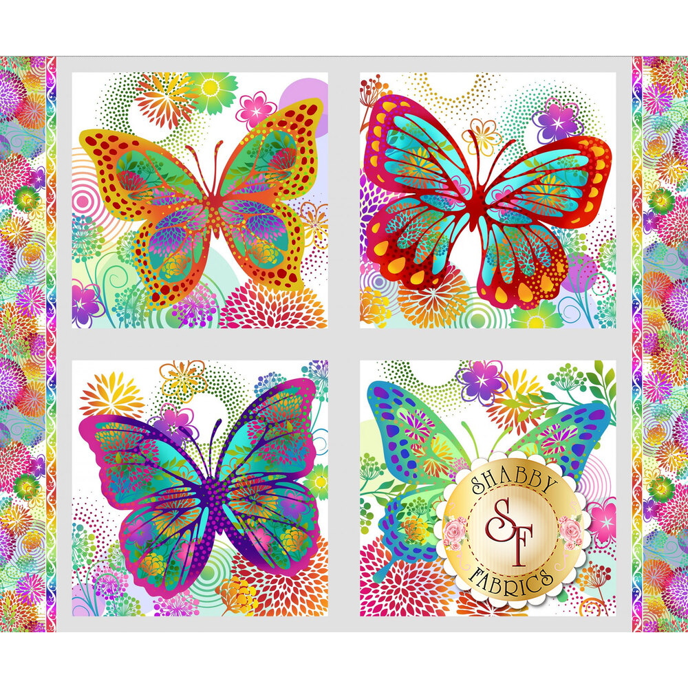 Black panel with four multicolored butterfly blocks | Shabby Fabrics