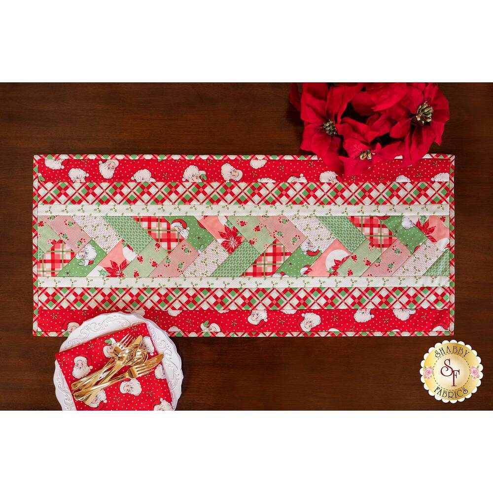 Retro and colorful Christmas table runner on a dark wooden table