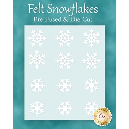 Felt Snowflake Pack -  12 pieces - Pre-fused & Die-cut