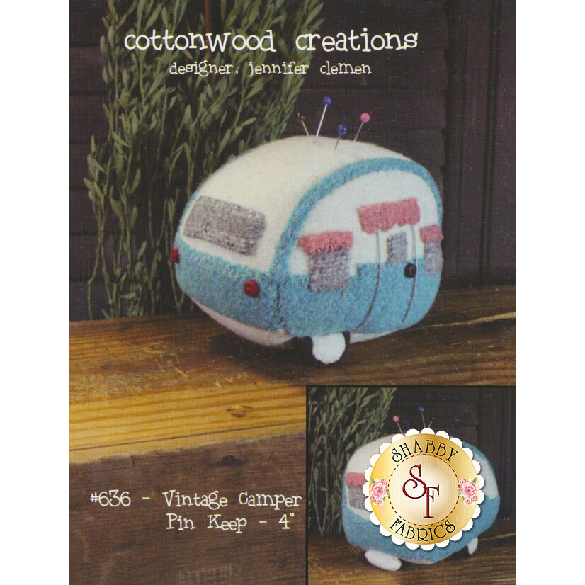 The front of the Vintage Camper Pin Keep pattern showing the finished pin cushion | Shabby Fabrics