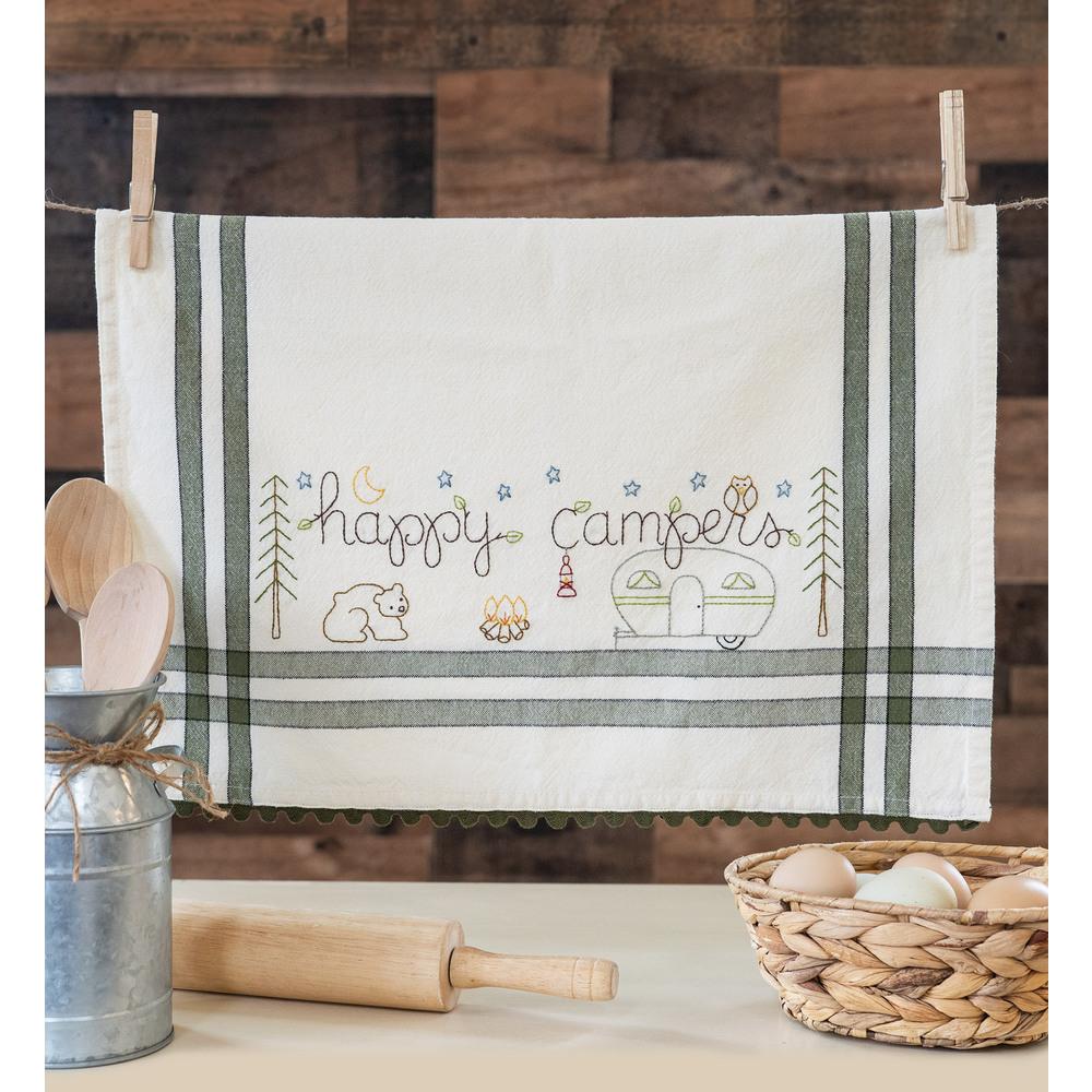 The adorable Happy Camper Vintage Kitchen Towel collage