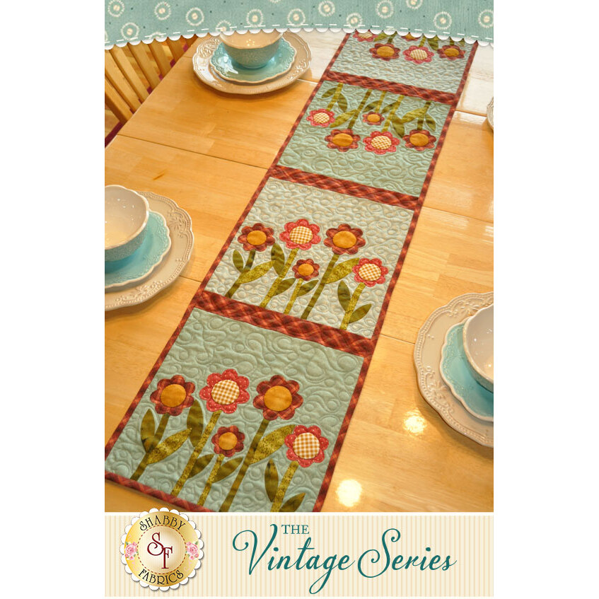 Vintage Garden Table Runner - August -  Laser Cut Kit | Shabby Fabrics