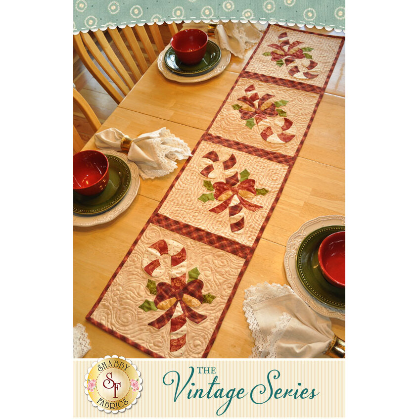 Vintage Candy Cane Table Runner - December - Pattern