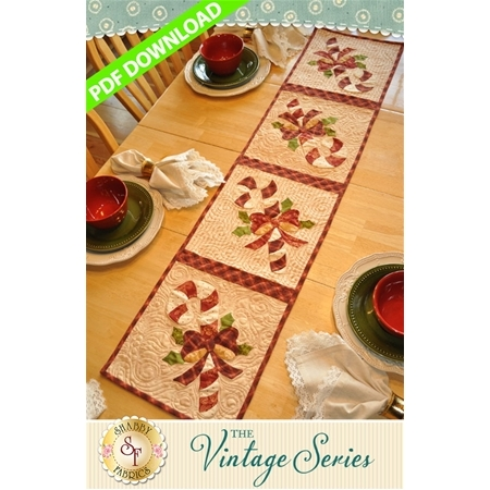 Vintage Candy Cane Table Runner - December - PDF Download