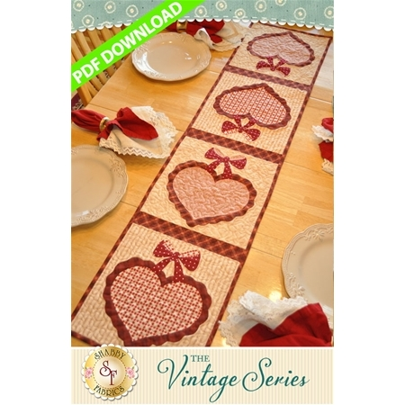 Vintage Heart Table Runner - February - PDF Download