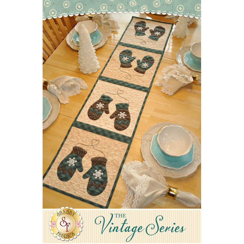 Vintage Mittens Table Runner - January - Laser Cut Kit | Shabby Fabrics